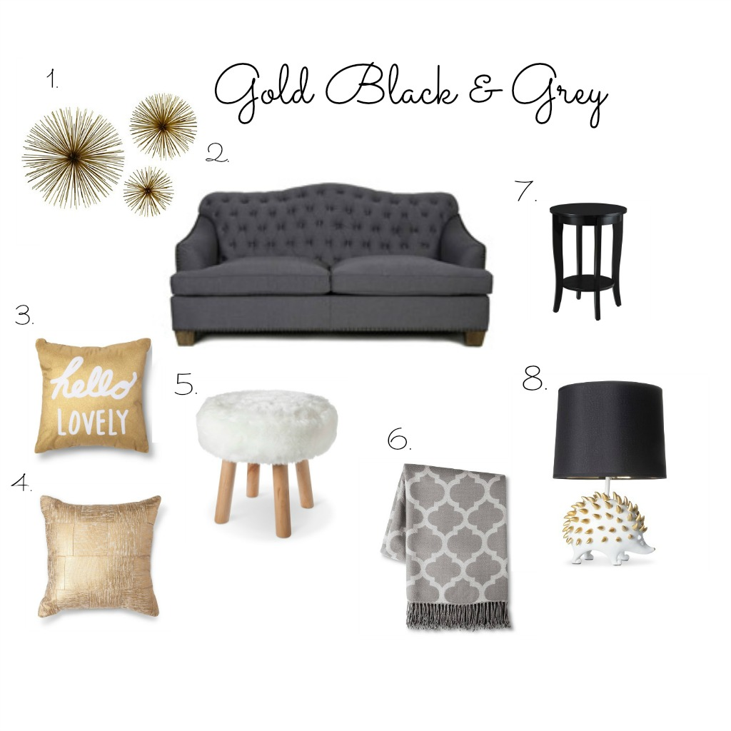 Color therapy gold black grey the scarlett social - Black and grey room ...